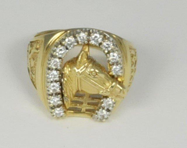 "1015: 14kt yellow gold & diamond ""Horseshoe Horse"" ring"