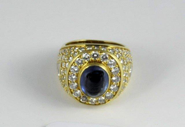 1016: 18kt yellow gold & diamond studded men's ring