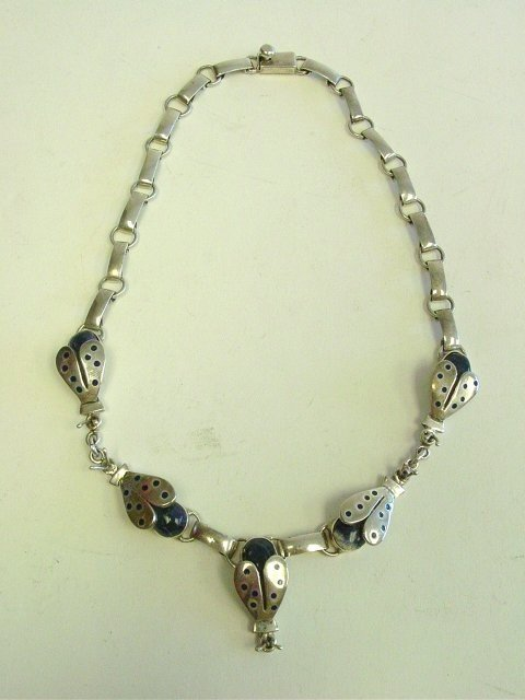 1022: Mexico sterling & lapis bug necklace
