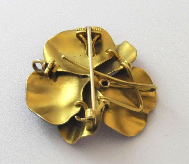 1044: Antique 14kt gold enamel pansy brooch - 2