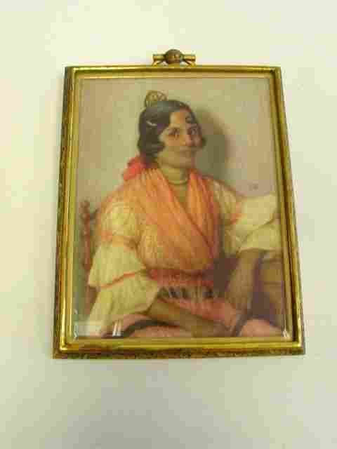 """19th c. painting """"Seated Gypsy Lady"""""""