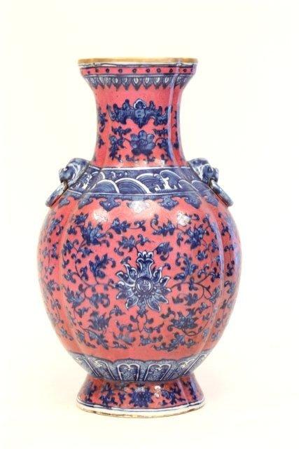1472: Rare Official Qianlong ruby enameled vase