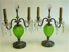 550 Pair Pairpoint green  clear cut glass lamps