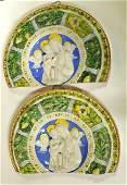 1115: Pair 19th c. Italian Majolica wall plaques