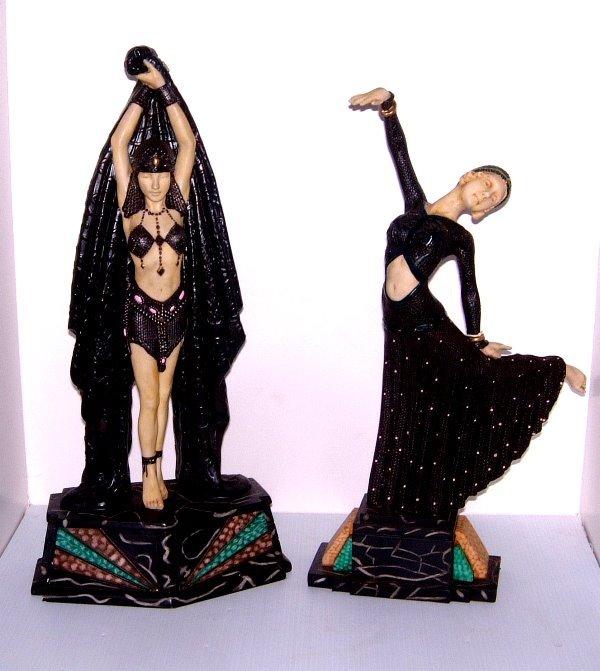 16: PAIR 20TH C. ART DECO STYLE FIGURAL DANCER
