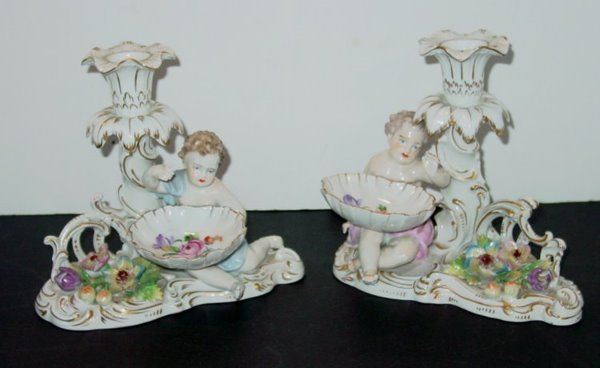 18: PAIR EARLY 20TH C. DRESDEN CANDLEHOLDERS