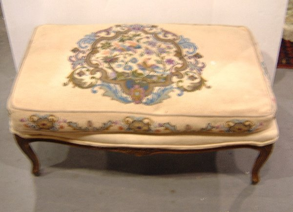 23: NEEDLEPOINT CARVED BENCH
