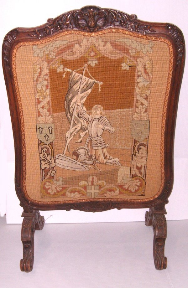 35: 19TH C. FRENCH WALNUT CARVED FIRESCREEN