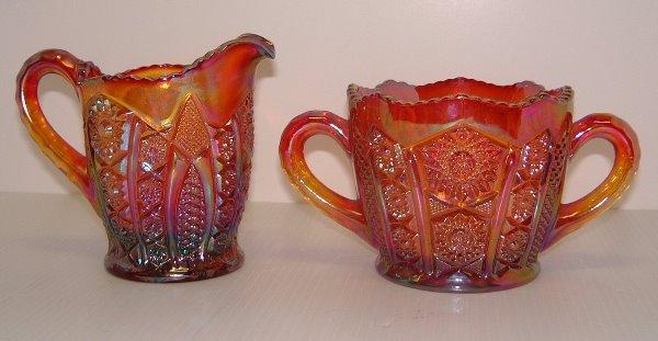 532: 20TH C. CARNIVAL GLASS CREAMER & SUGAR