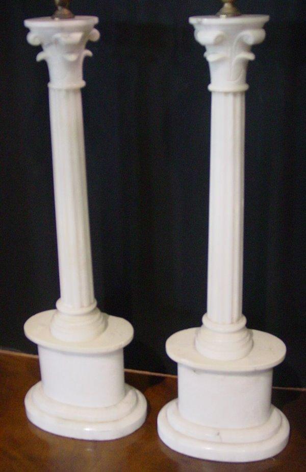 539: PAIR ALABASTER CORINTHIAN COLUMN LAMPS