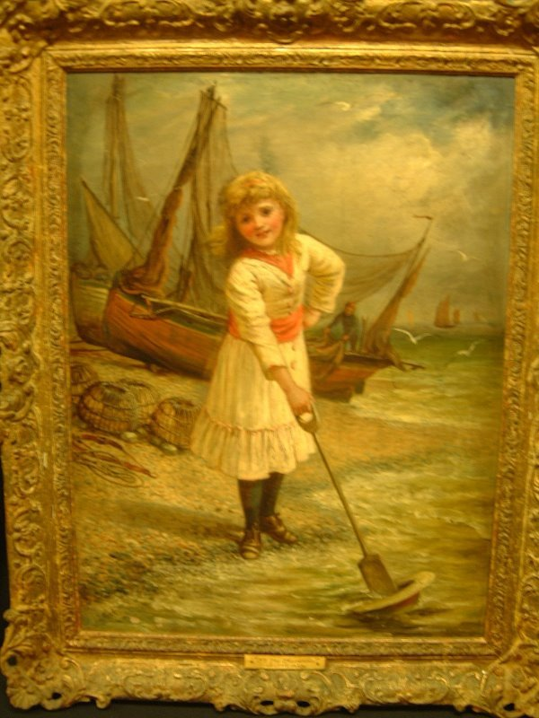 722: PAINTING 19TH C. O/C CHILD ON BEACH BY J. MEAD