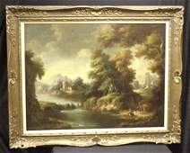 789 PAINTING 19TH C OC ENGLISH LANDSCAPE BY D BUSON