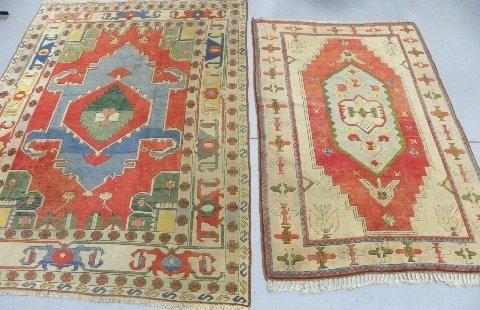 """9: 2 """"Navajo"""" style Turkish mid century rugs"""