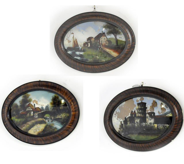 62: Lot of 3 19th c. reverse painted scenes