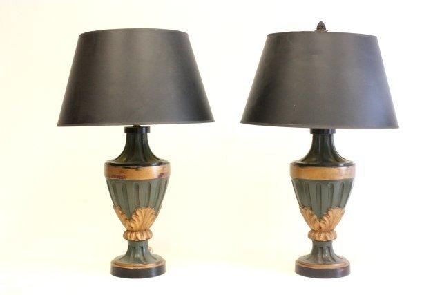 63: Pair carved wood lamps ca. 1960