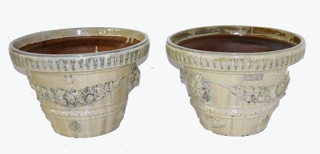 68: 2 glazed terracotta planters