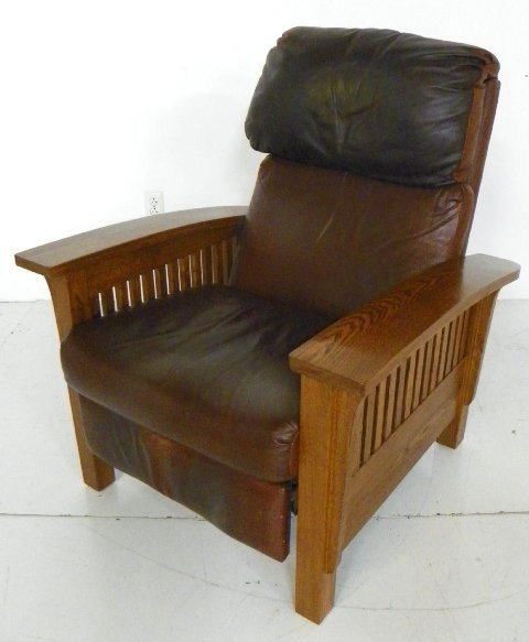 Mission style oak Morris Barca lounger chair