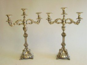 Pair 19th C. Silver Candelabrum