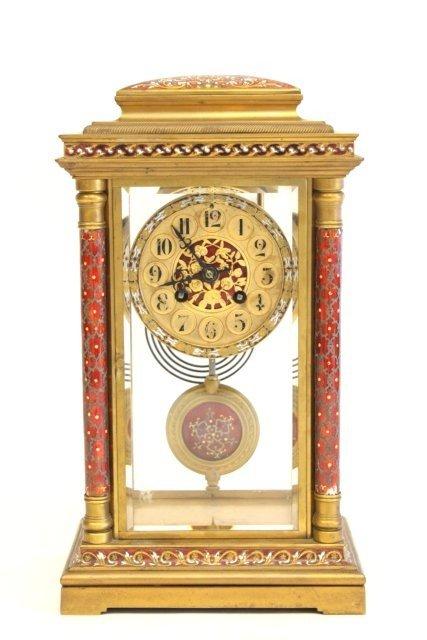 299: French enamel & crystal regulator clock