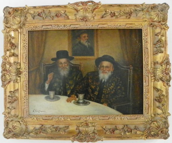 """312: Oil painting """"Two Rabbis Seated"""" artist signed"""