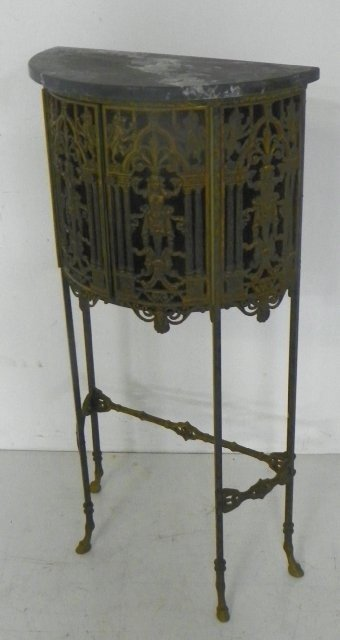 315: Demilune bronze figural telephone table