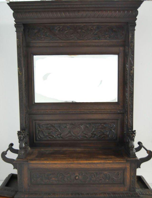 317: 19th c. oak figural hall mirror / umbrella stand
