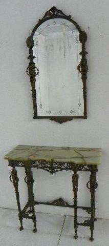 318: Bronze and marble top console and mirror
