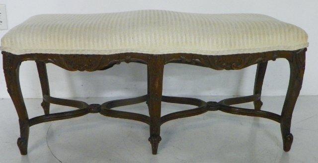 321: Antique walnut 6 legged carved bench