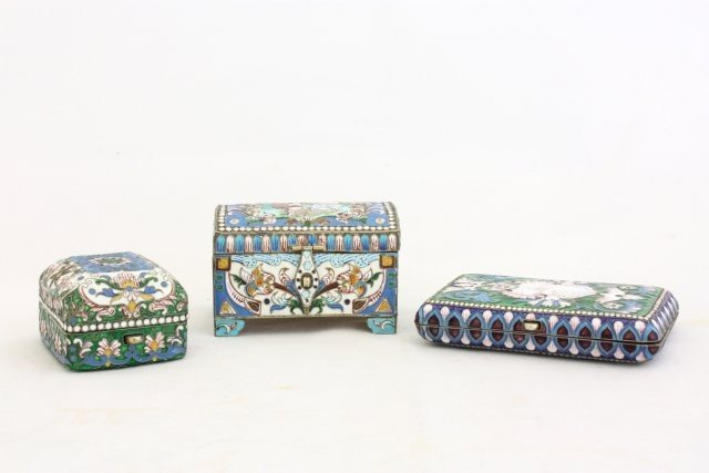 326: Group of 3 silver & enamelled boxes