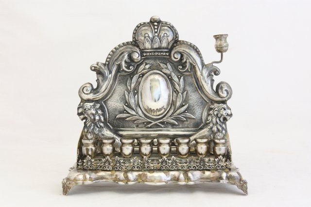 328: Late 19th c. Austrian silver menorah