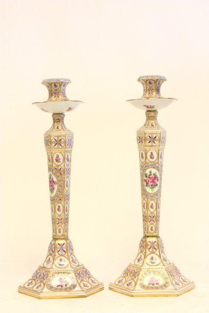 330: Pair hand painted Sevres candlesticks