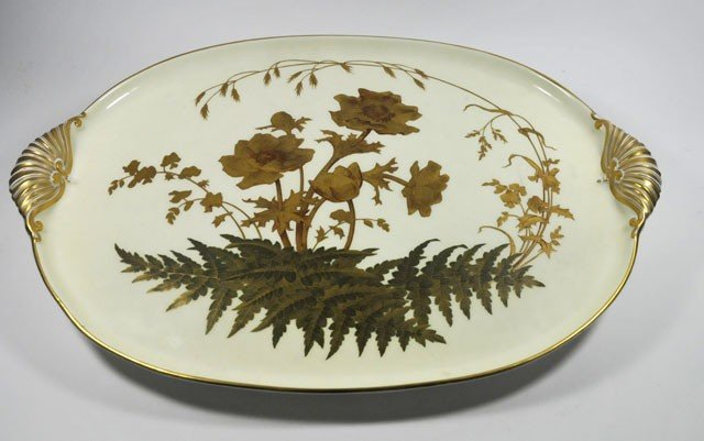 333: Antique porcelain gilded English tray