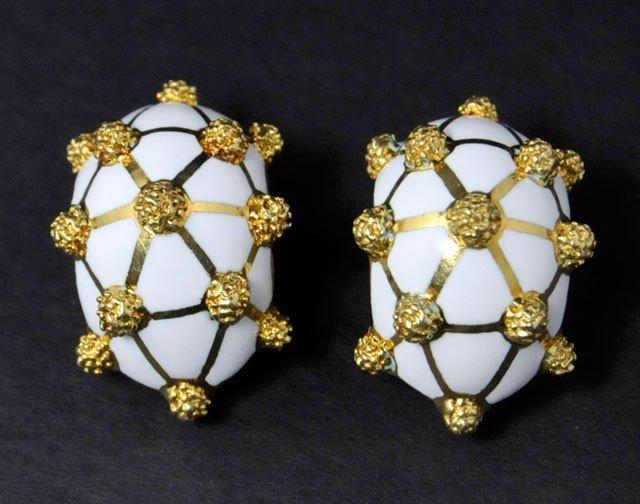 1004A: Pair 14kt gold David Webb enameled earrings