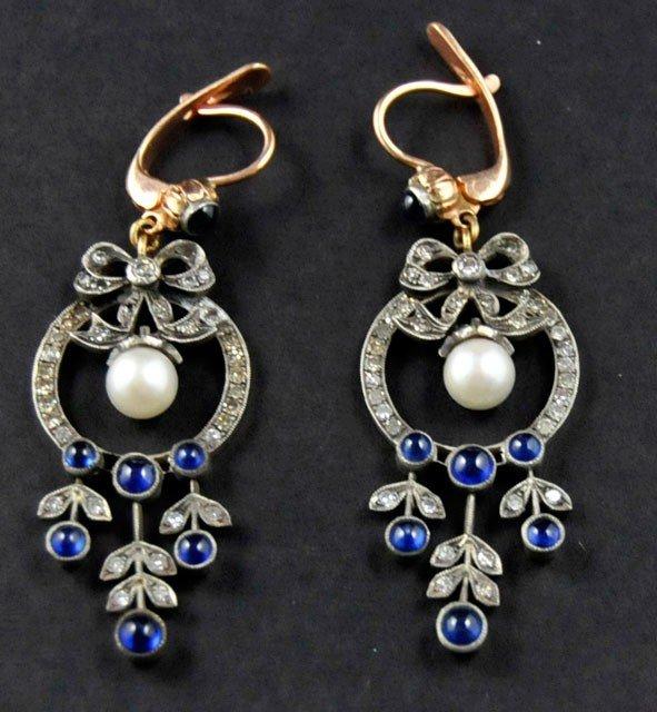 1006A: 14kt gold, sapphire, diamond & pearl earrings