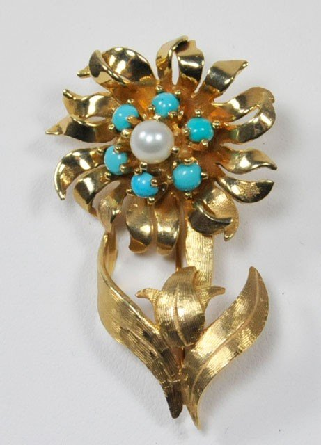 1008: 14kt yellow flower pin with pearls & turquoise