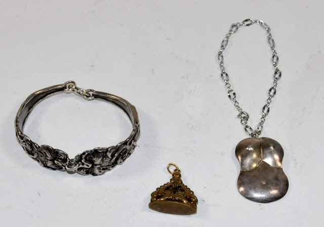 1012A: Group lot sterling & brass jewelry