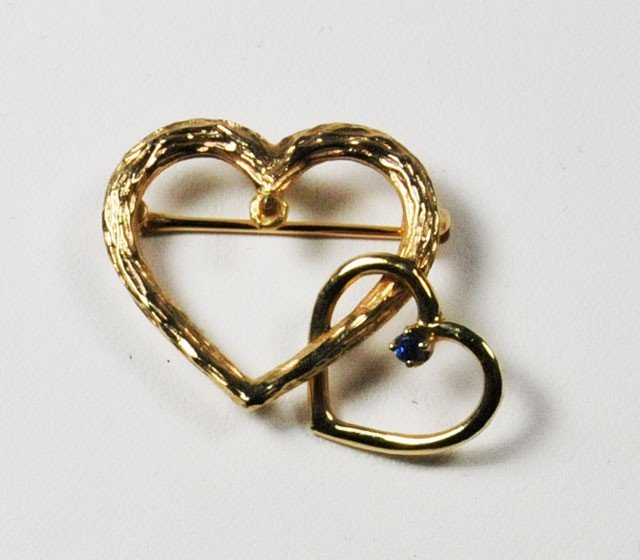 1028: 20th c. 14kt gold & sapphire double heart