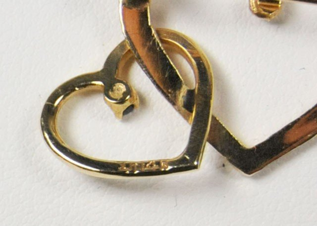 1028: 20th c. 14kt gold & sapphire double heart - 2
