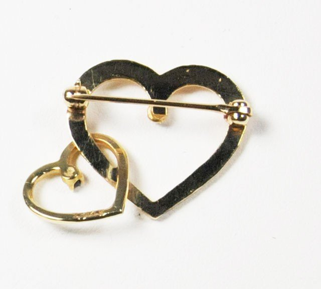 1028: 20th c. 14kt gold & sapphire double heart - 3