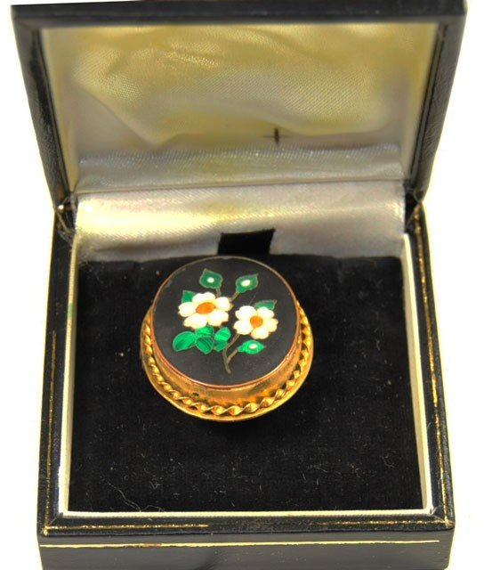 1034: Antique pietradura floral brooch ca. 19th c.