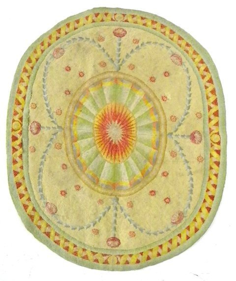 1: Unusual Art Deco hooked rug