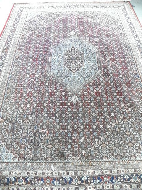 8: Persian ivory with red border rug