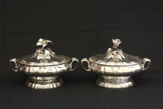 330: Pair silver antique Christofle covered tureens