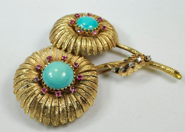 1002: 18kt gold, turquoise, diamond & red stone pin