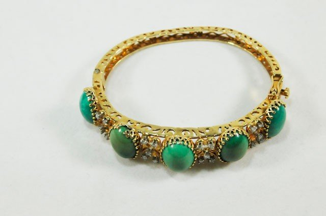 1003A: 14kt gold, diamond & turquoise bangle bracelet