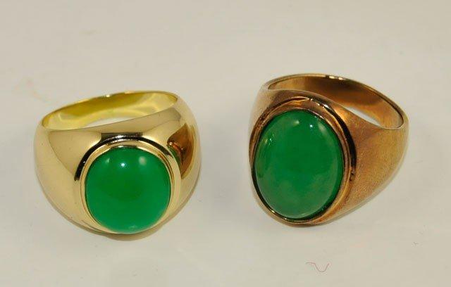 1005: 2 gold plated jade men's rings