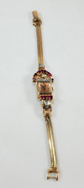 1005A: Vintage 14kt gold, diamond & ruby ladies watch