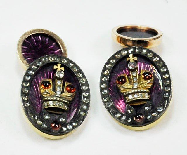1009: Russian gold enamel & diamond cufflinks
