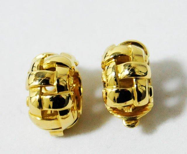 1018: Pair Tiffany gold earrings
