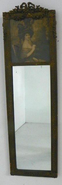 "Trumeau Mirror Depicting ""A Lady"" Ca. 1900"